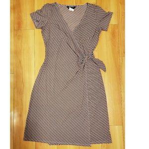 ABS Brown Wrap Midi Dress - Medium (PRE-OWNED)